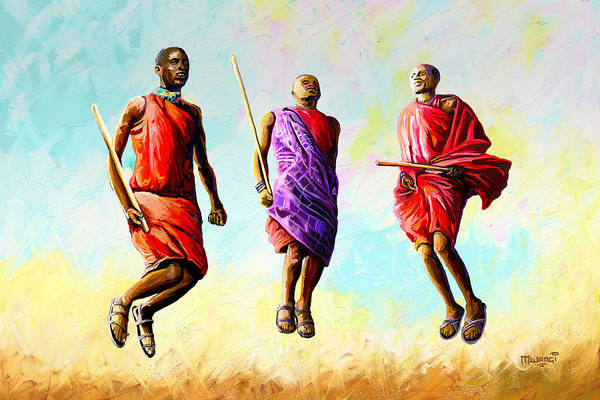 African Dance Painting - The Maasai Jump by Anthony Mwangi