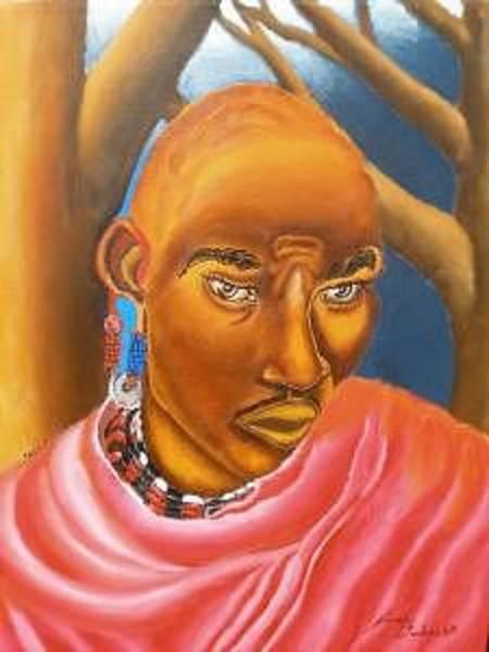 Wall Art - Painting - The Maasai Warrior by Dunbar's Modern Art
