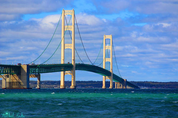 Michilimackinac Wall Art - Photograph - The Mackinac Bridge by Michael Rucker