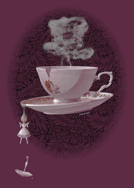 Drawing - The Mad Teacup - Rose by Swann Smith