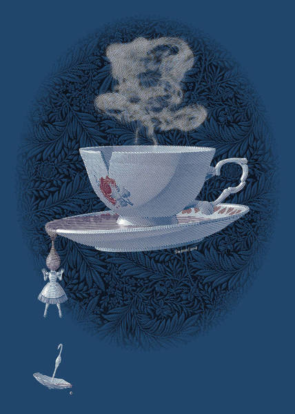 Drawing - The Mad Teacup - Royal by Swann Smith