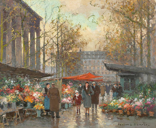 Wall Art - Painting - The Madeleine Flower Market by Edouard Henri Leon Cortes