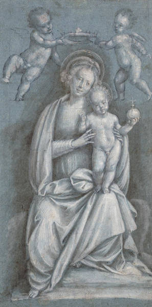 England Drawing - The Madonna And Child Crowned By Two Angels by Bernardino Lanino