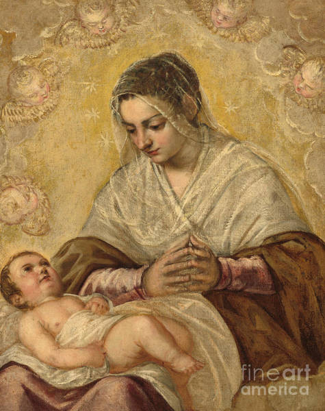 Wall Art - Painting - The Madonna Of The Stars by Jacopo Robusti Tintoretto