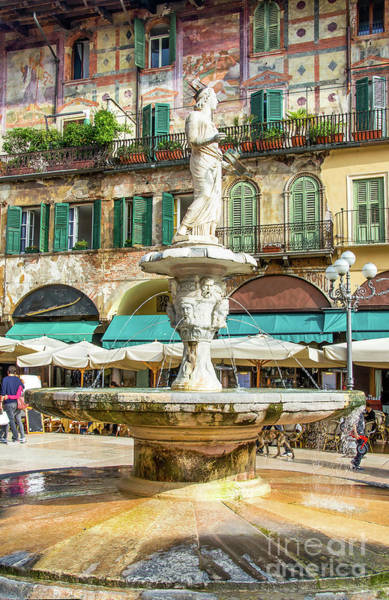 Photograph - the Madonna Verona fountain in Piazza delle Erbe square in the V by Luca Lorenzelli