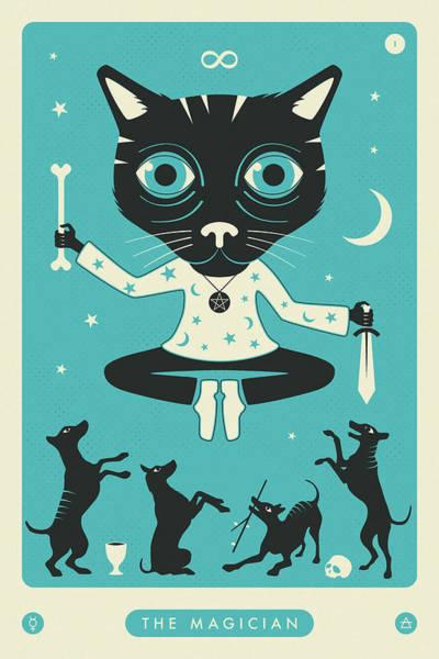Occult Wall Art - Digital Art - The Magician Tarot Card Cat by Jazzberry Blue