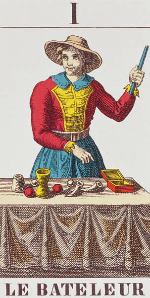Trick Drawing - The Magician Tarot Card by French School