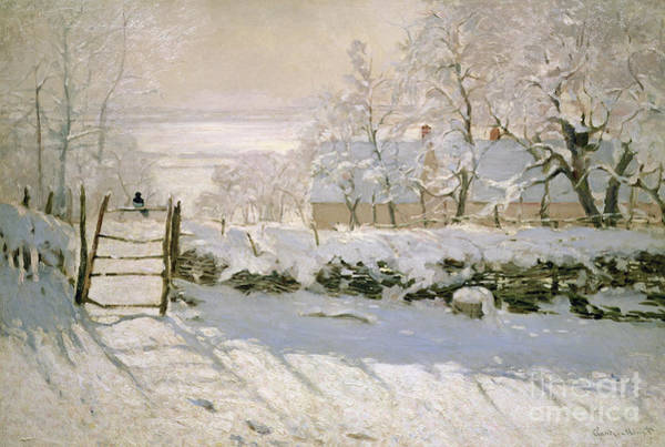 Fences Wall Art - Painting - The Magpie by Claude Monet