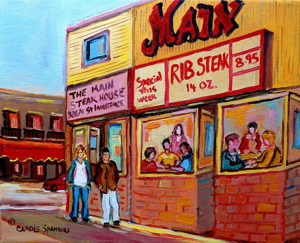 Diners Club Painting - The Main Steakhouse On St. Lawrence by Carole Spandau