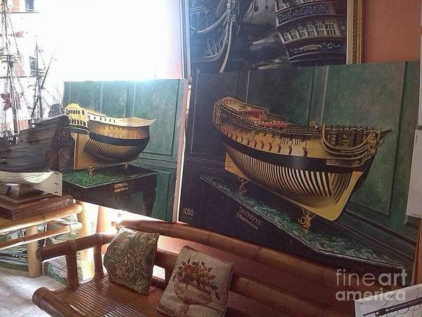 Wall Art - Painting - The Making Of The Intrepid Stern by Richard John Holden RA