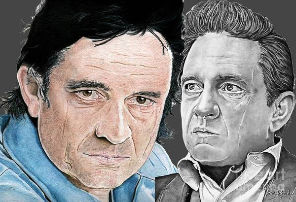 Drawing - The Man In Black by Bill Richards