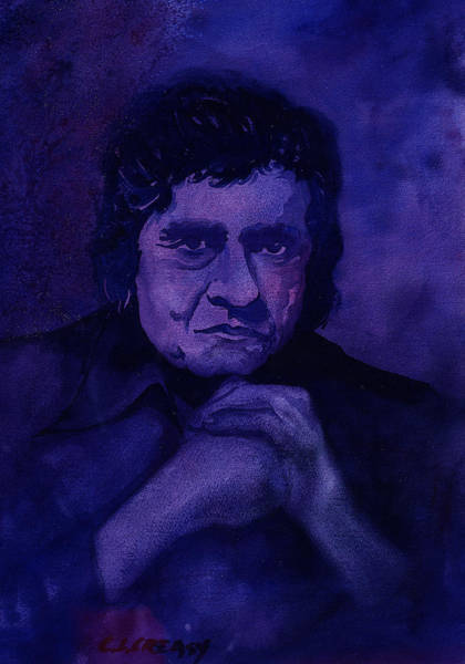 Johnny Cash Painting - The Man In Black In Blue by Chuck Creasy
