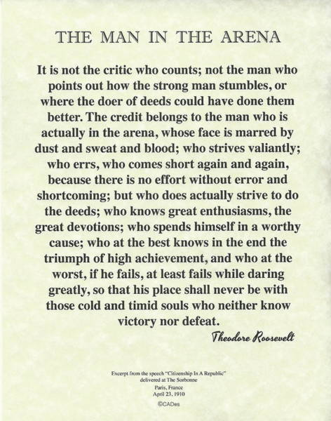 Moral Wall Art - Painting - The Man In The Arena By Theodore Roosevelt On Parchment by Desiderata Gallery
