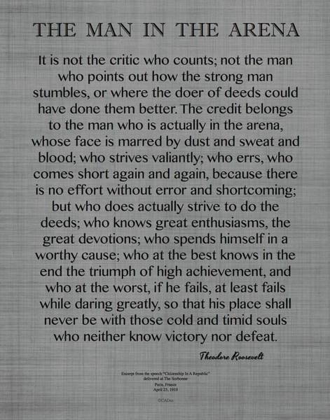Arena Painting - The Man In The Arena Quote, By Theodore Roosevelt On Gray Linen by Desiderata Gallery