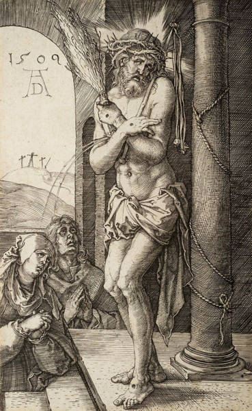Albrecht Durer Wall Art - Relief - The Man Of Sorrows By The Column With The Virgin And St. John  by Albrecht Durer