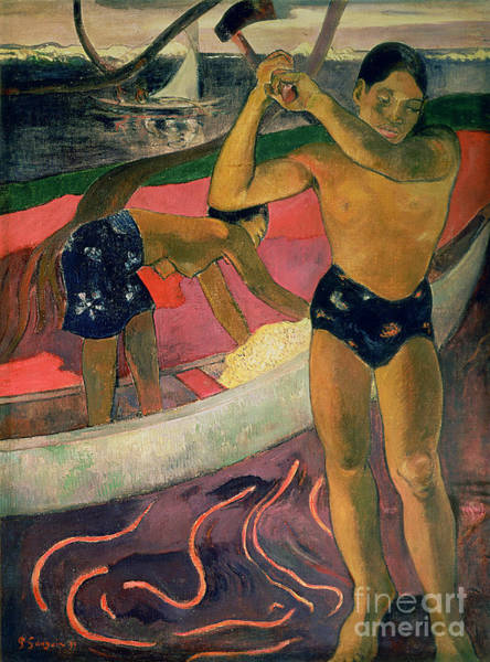 Axeman Wall Art - Painting - The Man With An Axe by Paul Gauguin