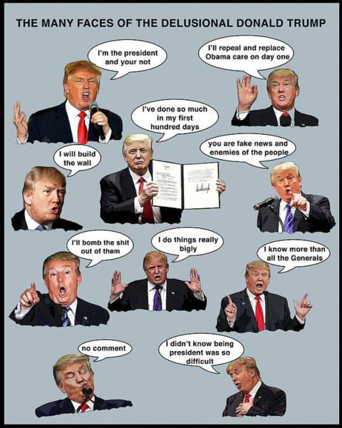 Trump Digital Art - The Many Faces by Joe  Palermo
