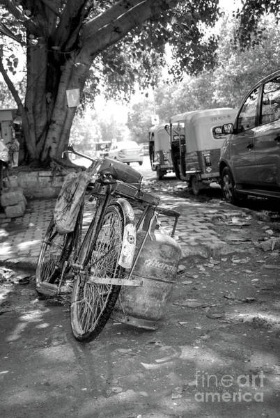 Wall Art - Photograph - The Many Shades Of Delhi - Parked Bicycle by Neha Gupta