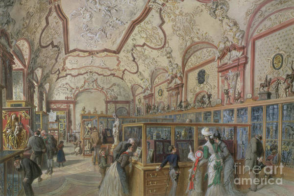 Wall Art - Painting - The Marble Hall Of The Ambraser Gallery In The Lower Belvedere, Vienna, 1876 by Carl Goebel