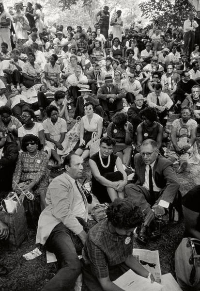 Equal Rights Wall Art - Photograph - The March On Washington   A Crowd Of Seated Marchers by Nat Herz
