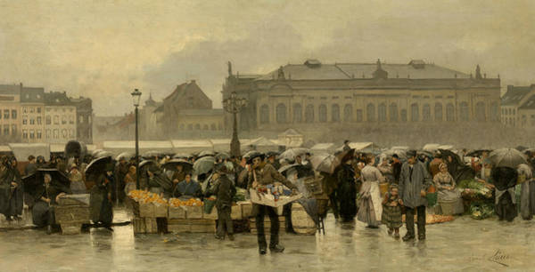 Painting - The Market For The Theater In Antwerp by Emile Claus
