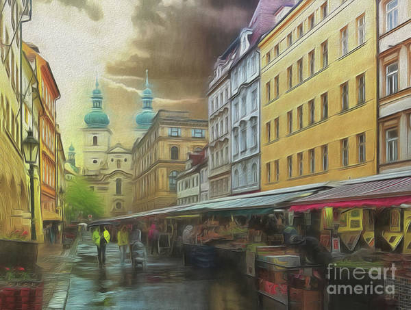 The Market In The Rain Art Print
