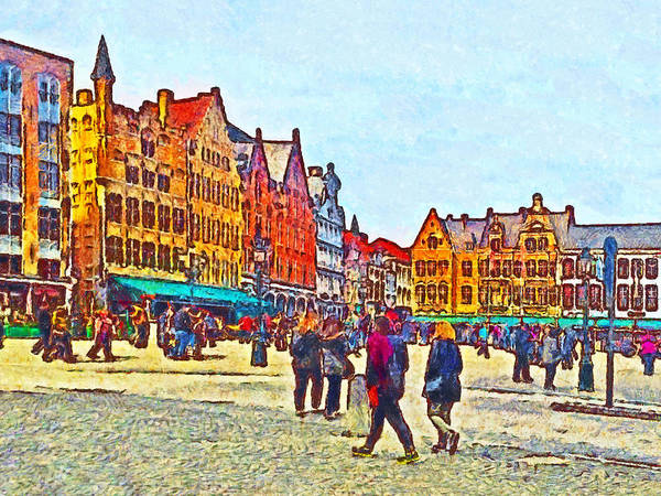 Digital Art - The Market Place In Bruges Belgium by Digital Photographic Arts