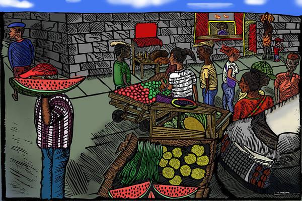 Linoleum Mixed Media - The Market Scene by Marlon Vassell