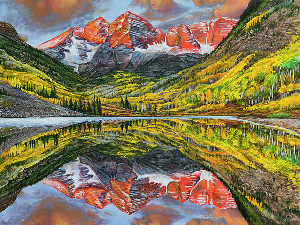 Painting - The Maroon Bells  by Aaron Spong