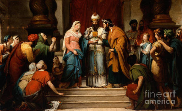 Wall Art - Painting - The Marriage Of The Virgin by Jerome Martin Langlois