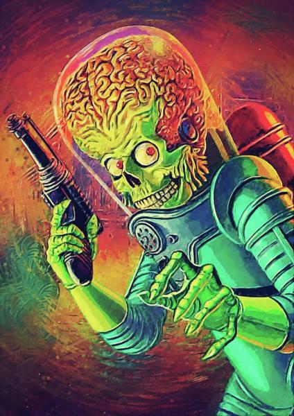 Tim Burton Wall Art - Digital Art - The Martian - Mars Attacks by Zapista Zapista