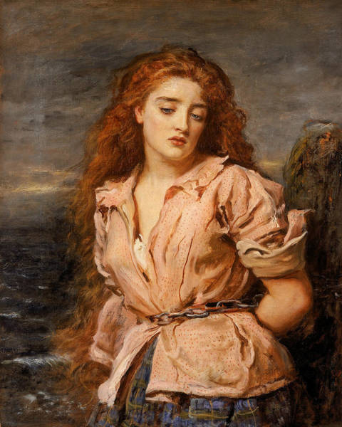 Pre-raphaelite Brotherhood Painting - The Martyr Of The Solway by John Everett Millais