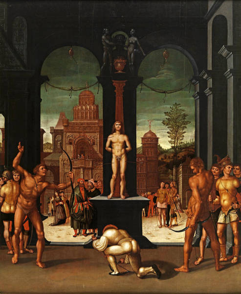 Wall Art - Painting - The Martyrdom Of Saint Sebastian by Attributed to Georg Pencz