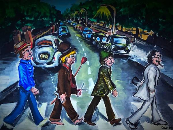The Marx Brothers Painting - The Marx Brothers Abby Road by Dave Wilson