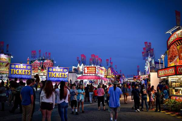 Timonium Wall Art - Photograph - The Maryland State Fair Midway At Sunset by Doug Swanson