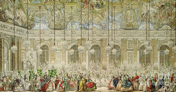 Wall Art - Painting - The Masked Ball At The Galerie Des Glaces by Charles Nicolas Cochin II