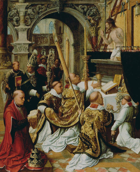 Wall Art - Painting - The Mass Of Saint Gregory The Great by Adriaen Isenbrandt