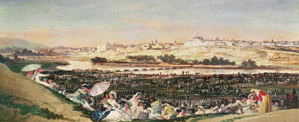 Spanish Wine Painting - The Meadow At San Isidro by Goya