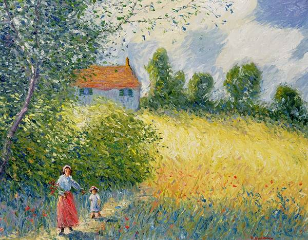 Barley Painting - The Meadow Path  by Richard Kretchmer