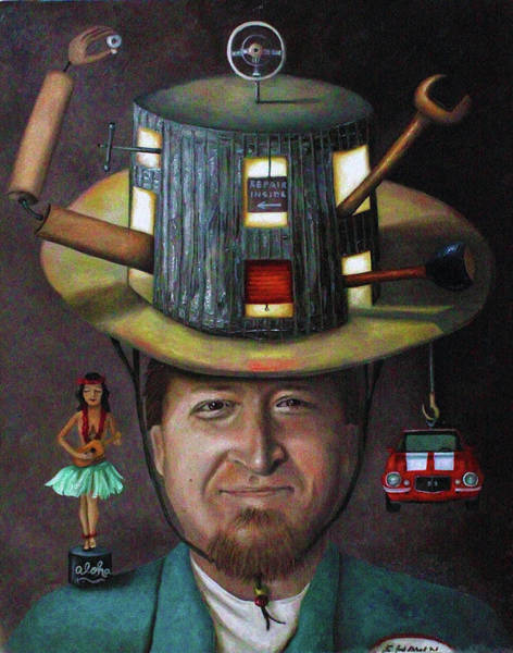 Painting - The Mechanic Part Of The Thinking Cap Series by Leah Saulnier The Painting Maniac