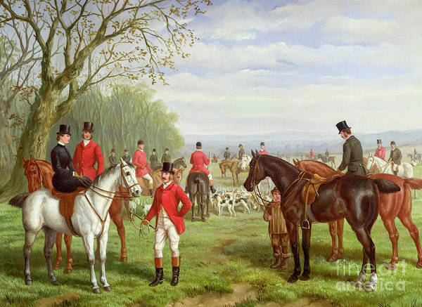 Huntsmen Wall Art - Painting - The Meet by Edward Benjamin Herberte