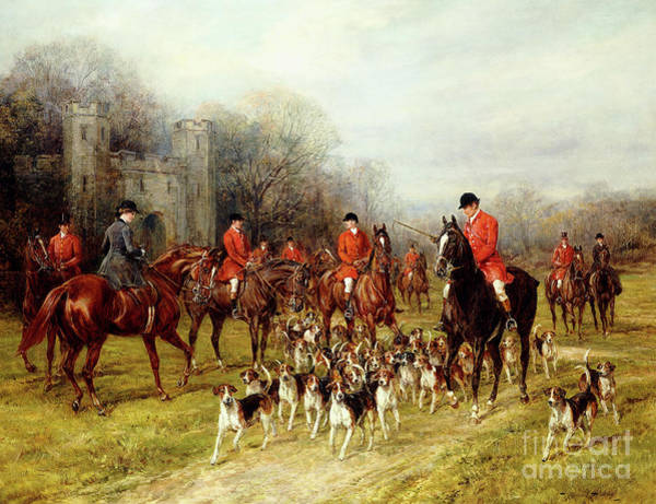 Horseback Wall Art - Painting - The Meet by Heywood Hardy