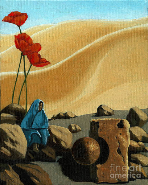 Wall Art - Painting - The Meeting - Surreal Figurative Fantasy by Linda Apple