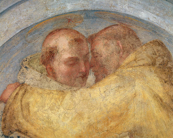 16th Century Painting - The Meeting Of St Francis And St Dominic  by Fra Bartolommeo
