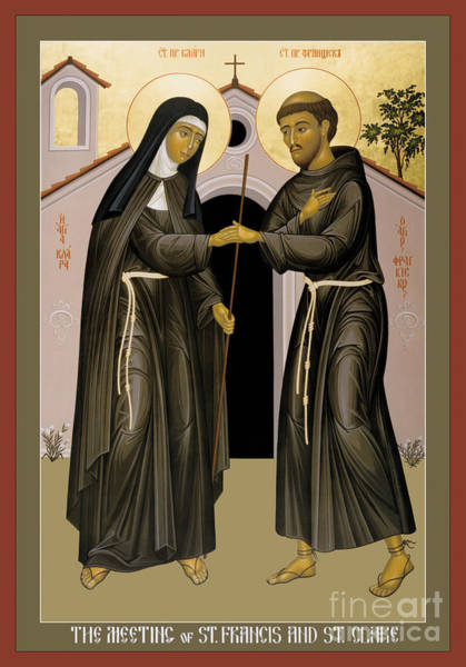 Painting - The Meeting Of Sts. Francis And Clare - Rlfac by Br Robert Lentz OFM