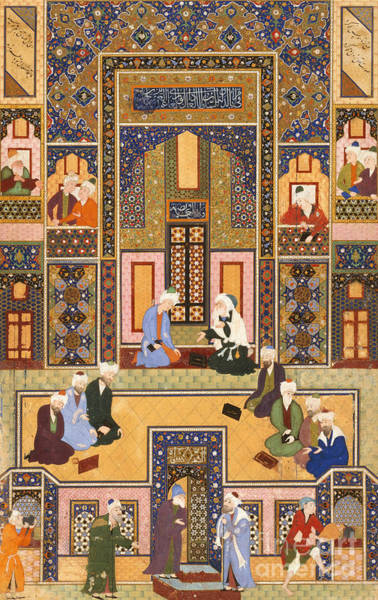Sixteenth Wall Art - Painting - The Meeting Of The Theologians by Abd Allah Musawwir