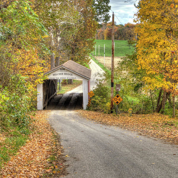 Photograph - The Melcher Covered Bridge by Harold Rau