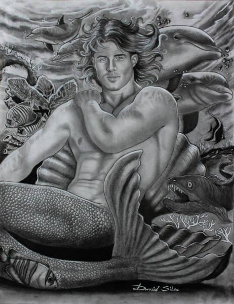 Wets Drawing - The Merman by David DaSilva