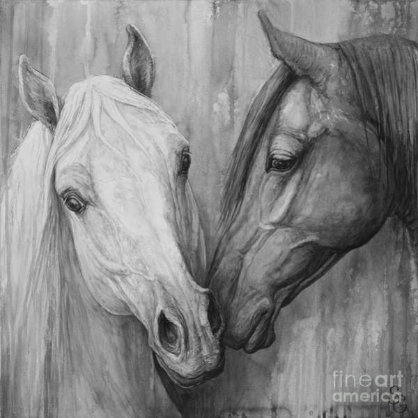 Black And White Horse Wall Art - Painting - The Message by Silvana Gabudean Dobre