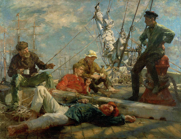 Newlyn Painting - The Midday Rest Sailors Yarning by Henry Scott Tuke